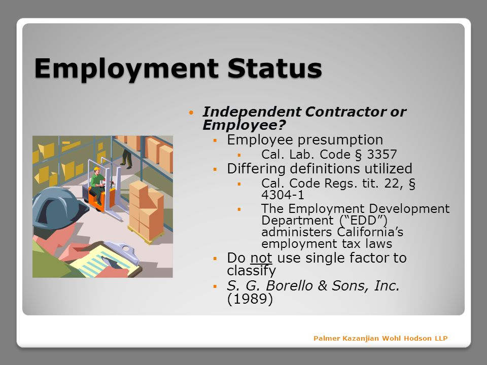 Employment Status Independent Contractor or Employee