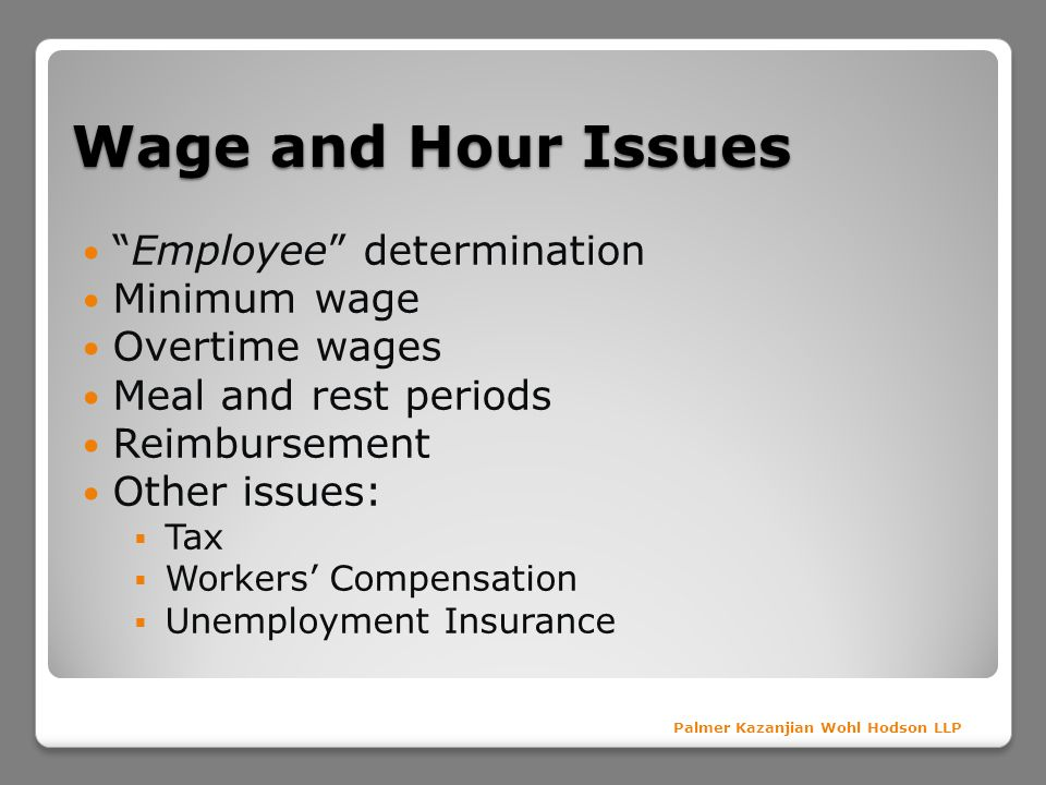 Wage and Hour Issues Employee determination Minimum wage