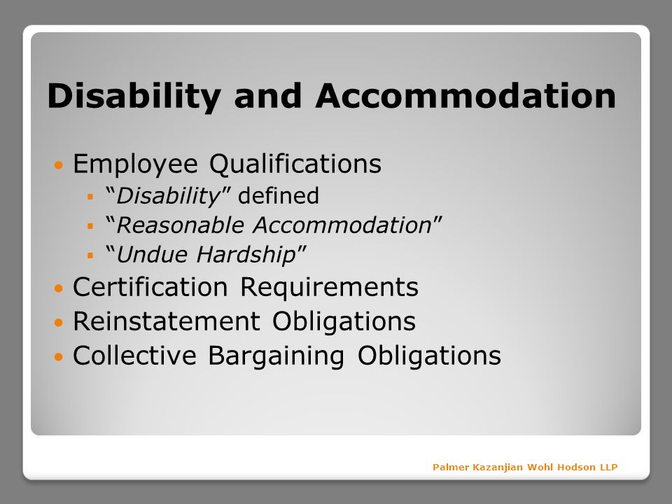 Disability and Accommodation
