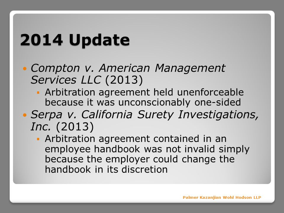 2014 Update Compton v. American Management Services LLC (2013)