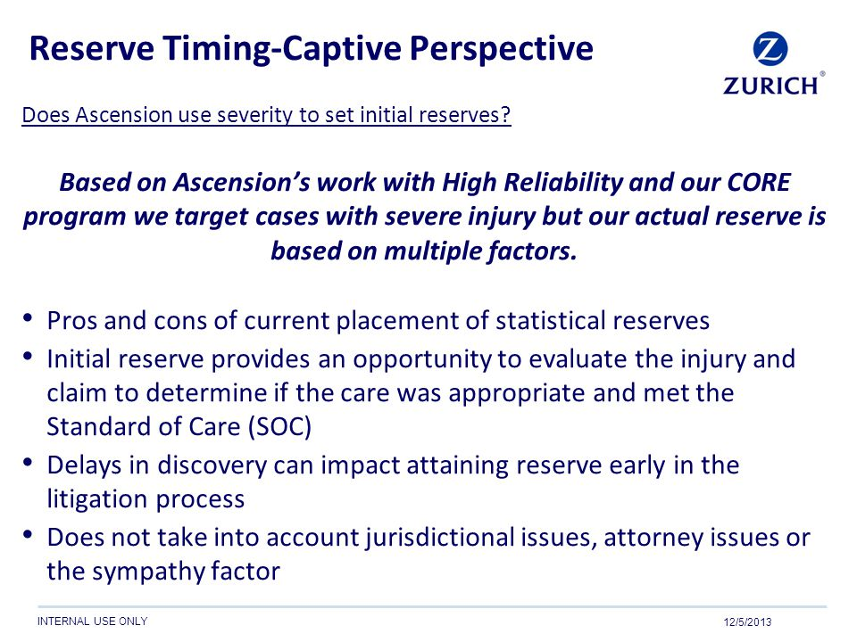 Reserve Timing-Captive Perspective