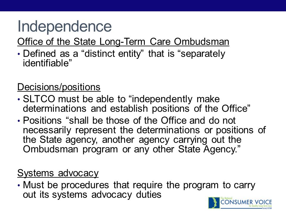 Independence Office of the State Long-Term Care Ombudsman
