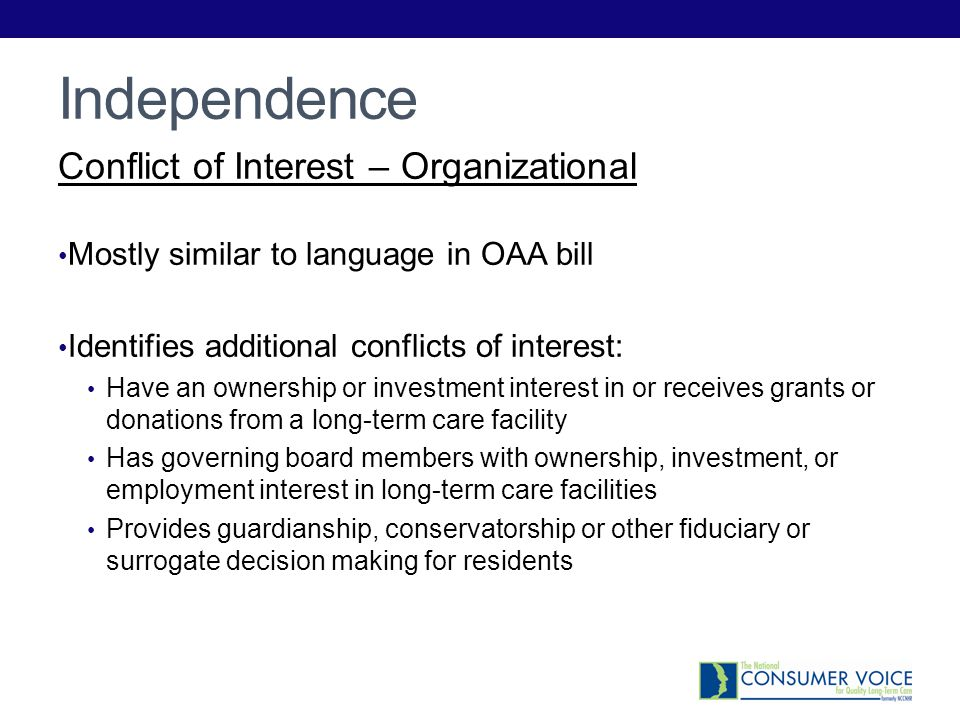 Independence Conflict of Interest – Organizational