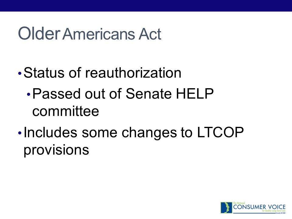Older Americans Act Status of reauthorization