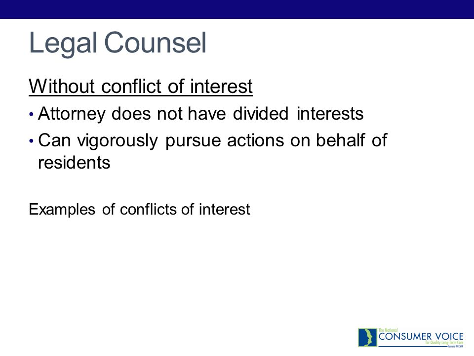 Legal Counsel Without conflict of interest