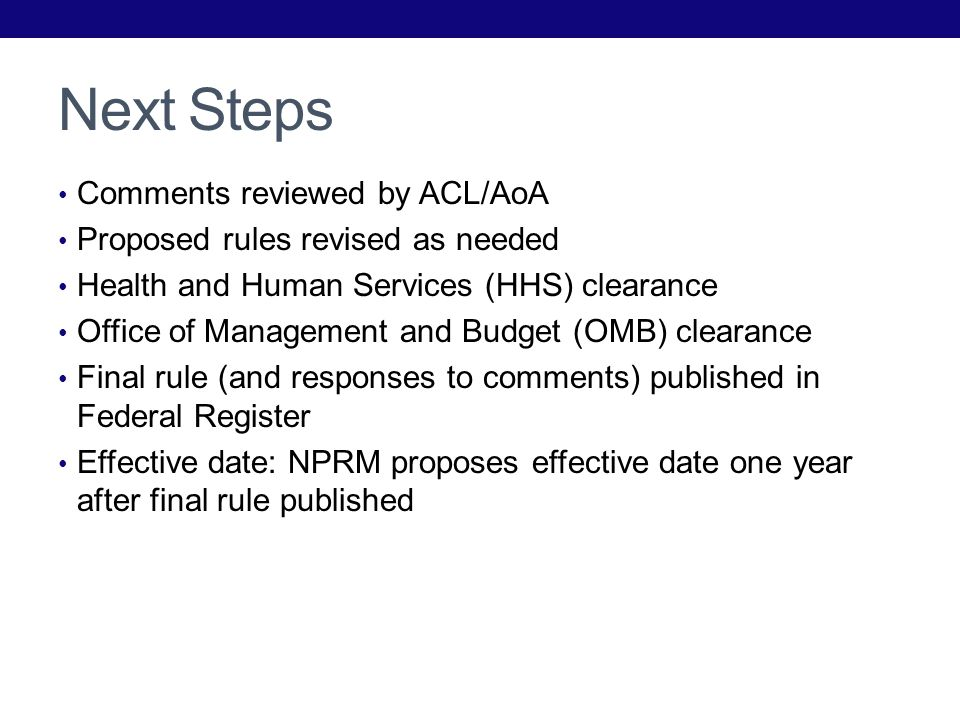 Next Steps Comments reviewed by ACL/AoA