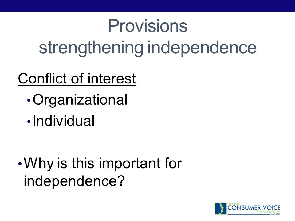 Provisions strengthening independence