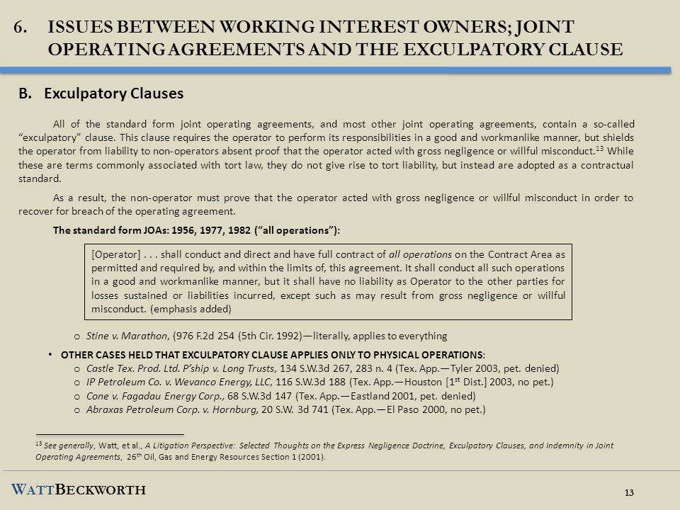 Issues between working interest owners; joint