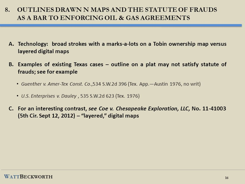 Outlines Drawn n maps and the statute of frauds