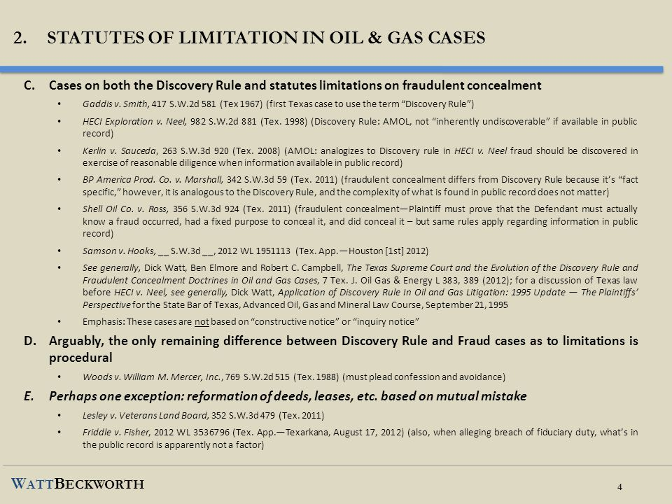2. STATUTES OF LIMITATION IN OIL & Gas cases