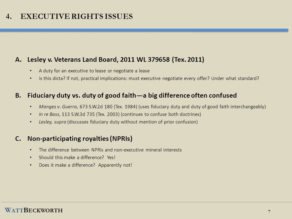 4. Executive rights issues
