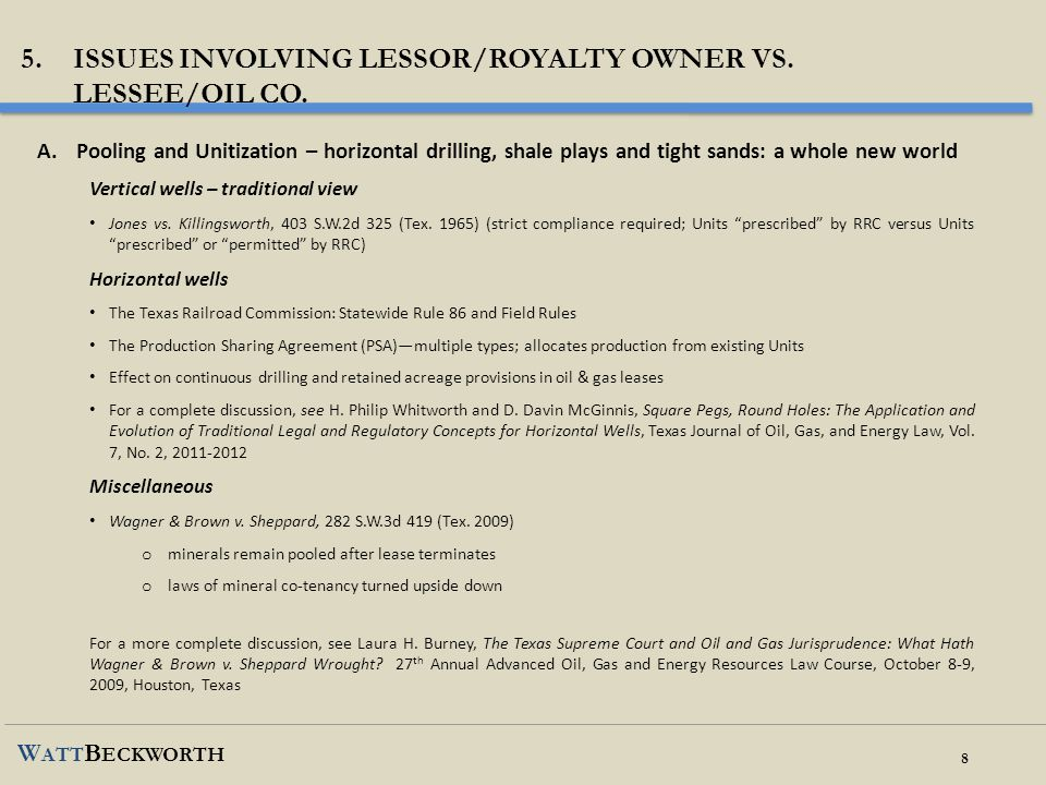 Issues involving lessor/royalty owner vs. lessee/oil co.