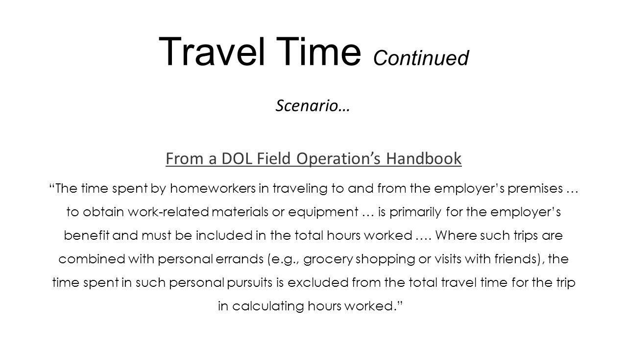 From a DOL Field Operation's Handbook