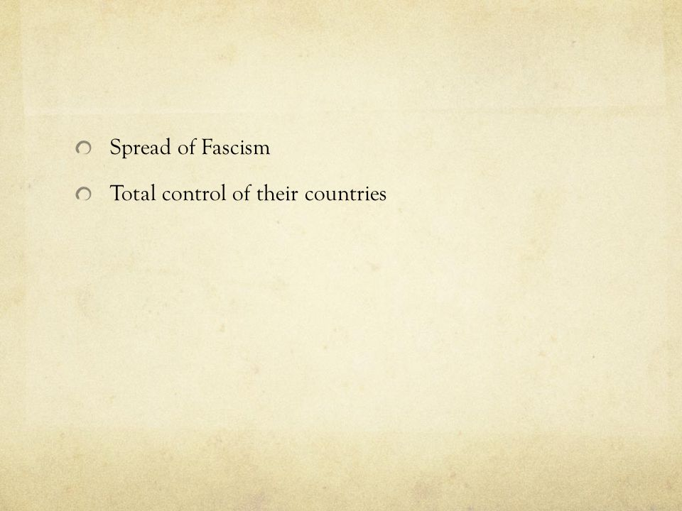 Spread of Fascism Total control of their countries