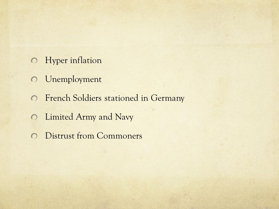 Hyper inflation Unemployment. French Soldiers stationed in Germany.