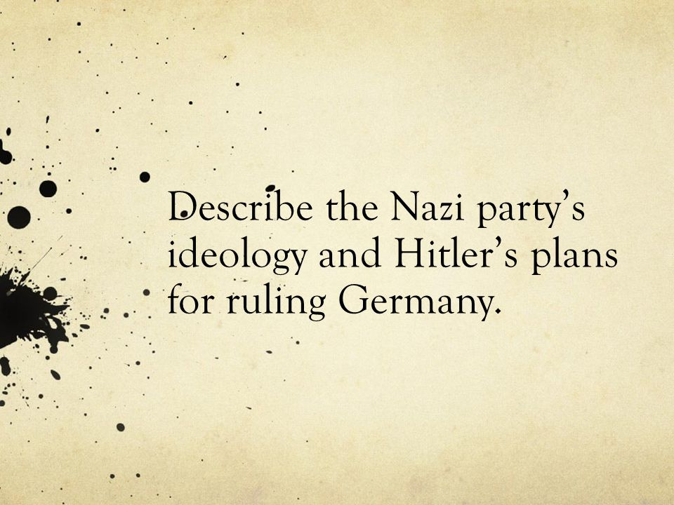 Describe the Nazi party's ideology and Hitler's plans for ruling Germany.