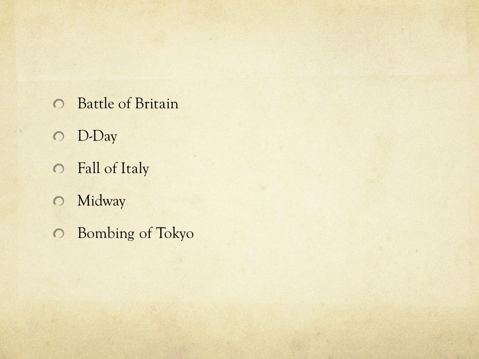 Battle of Britain D-Day Fall of Italy Midway Bombing of Tokyo