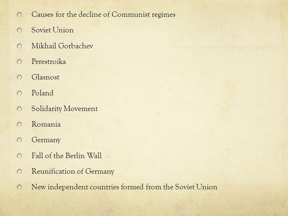 Causes for the decline of Communist regimes