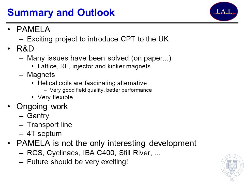 Summary and Outlook PAMELA R&D Ongoing work