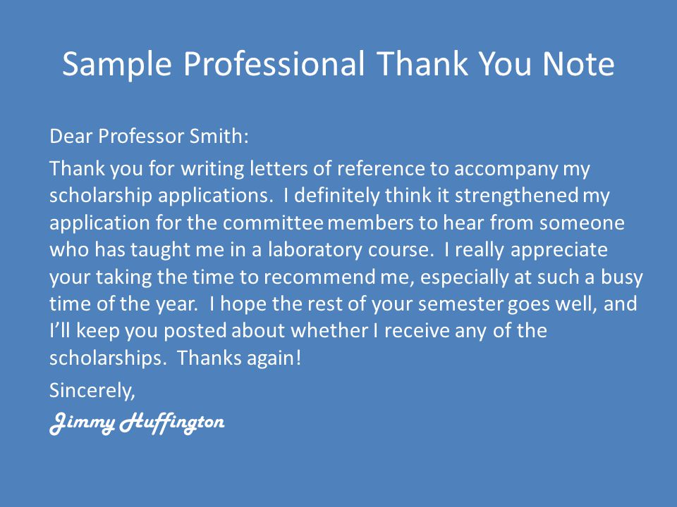 Sample Professional Thank You Note