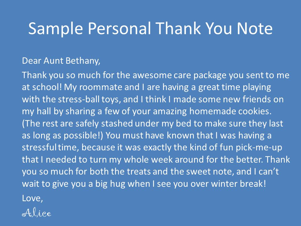 Sample Personal Thank You Note