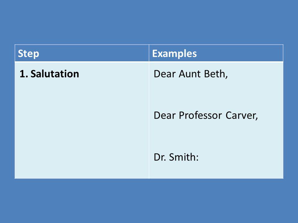 Step Examples Salutation Dear Aunt Beth, Dear Professor Carver,