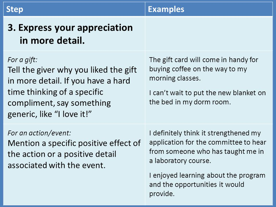 3. Express your appreciation in more detail.