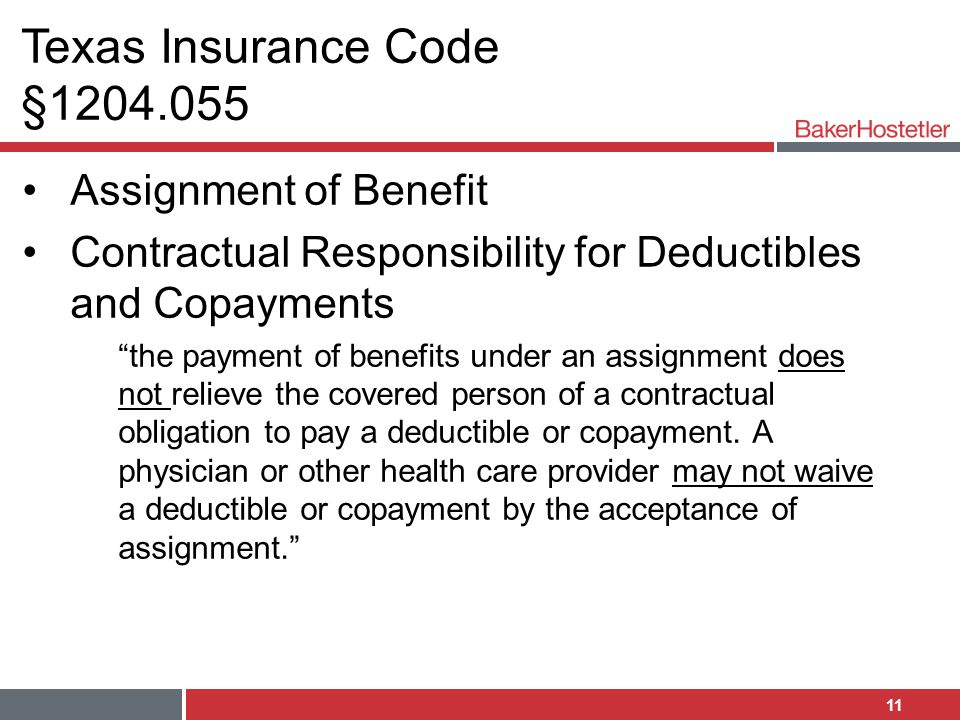 Texas Insurance Code §1204.055 Assignment of Benefit