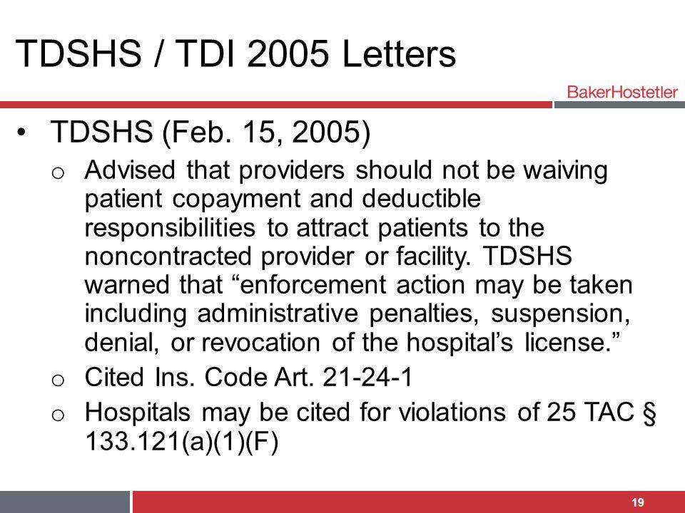 TDSHS / TDI 2005 Letters TDSHS (Feb. 15, 2005)