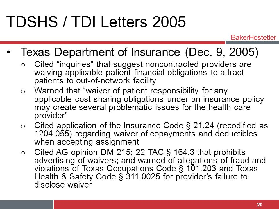 TDSHS / TDI Letters 2005 Texas Department of Insurance (Dec. 9, 2005)