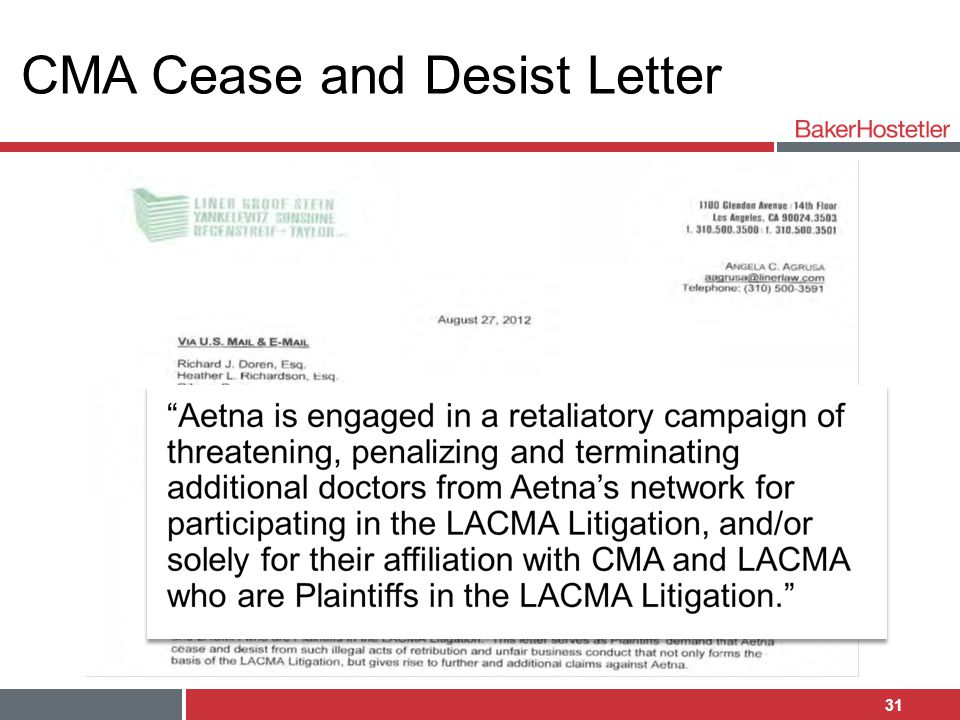CMA Cease and Desist Letter