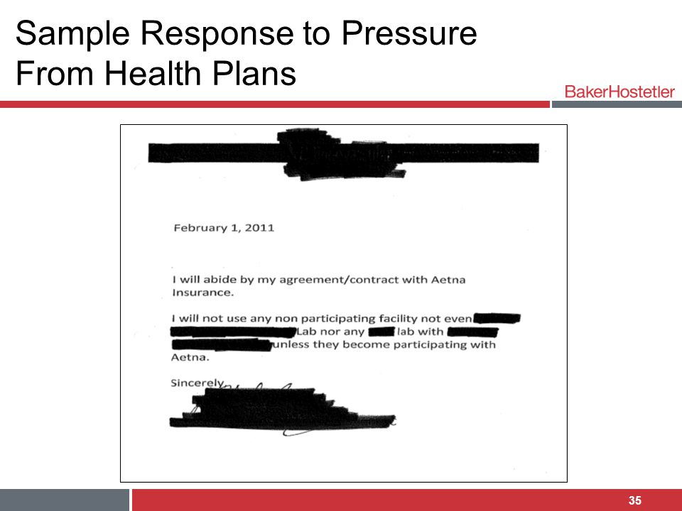 Sample Response to Pressure From Health Plans