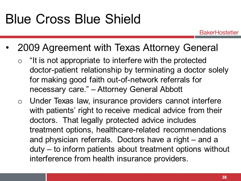 Blue Cross Blue Shield 2009 Agreement with Texas Attorney General