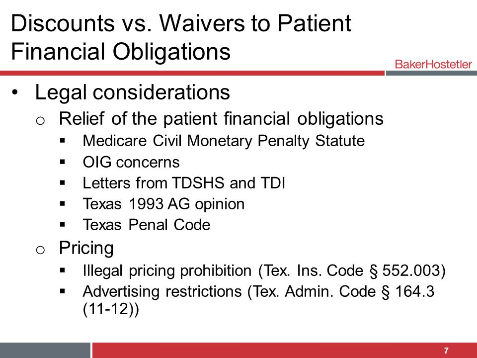 Discounts vs. Waivers to Patient Financial Obligations