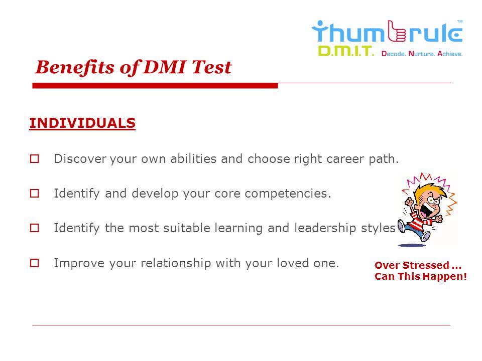 Benefits of DMI Test INDIVIDUALS