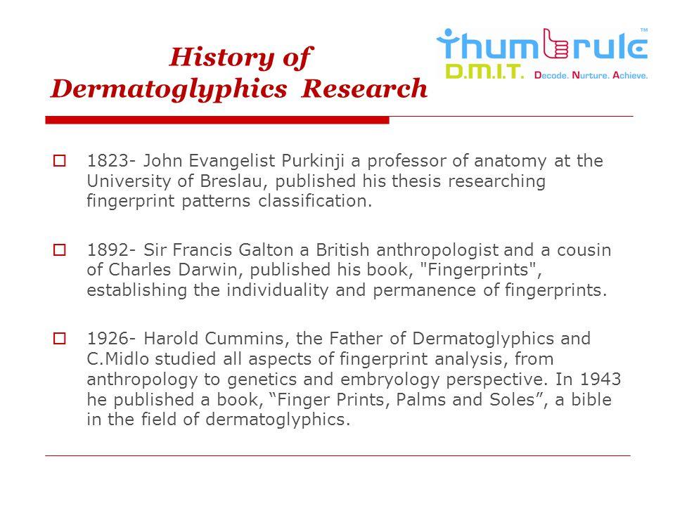 History of Dermatoglyphics Research