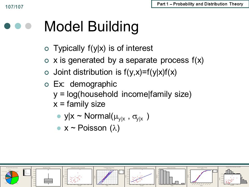 Model Building Typically f(y|x) is of interest