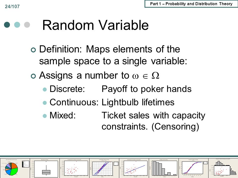 Random Variable Definition: Maps elements of the sample space to a single variable: Assigns a number to   