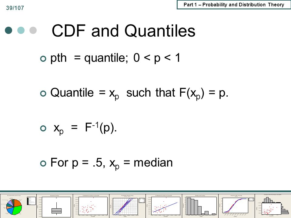 CDF and Quantiles pth = quantile; 0 < p < 1