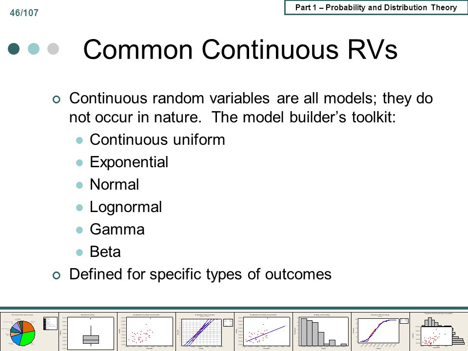 Common Continuous RVs Continuous random variables are all models; they do not occur in nature. The model builder's toolkit:
