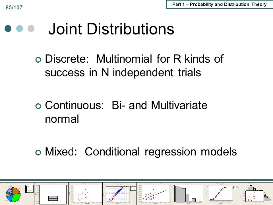 Joint Distributions Discrete: Multinomial for R kinds of success in N independent trials. Continuous: Bi- and Multivariate normal.