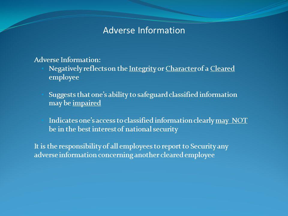 Adverse Information Adverse Information:
