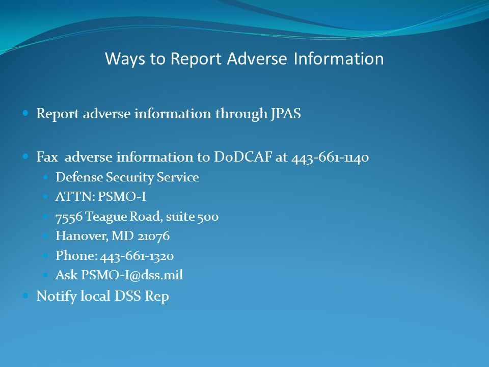 Ways to Report Adverse Information