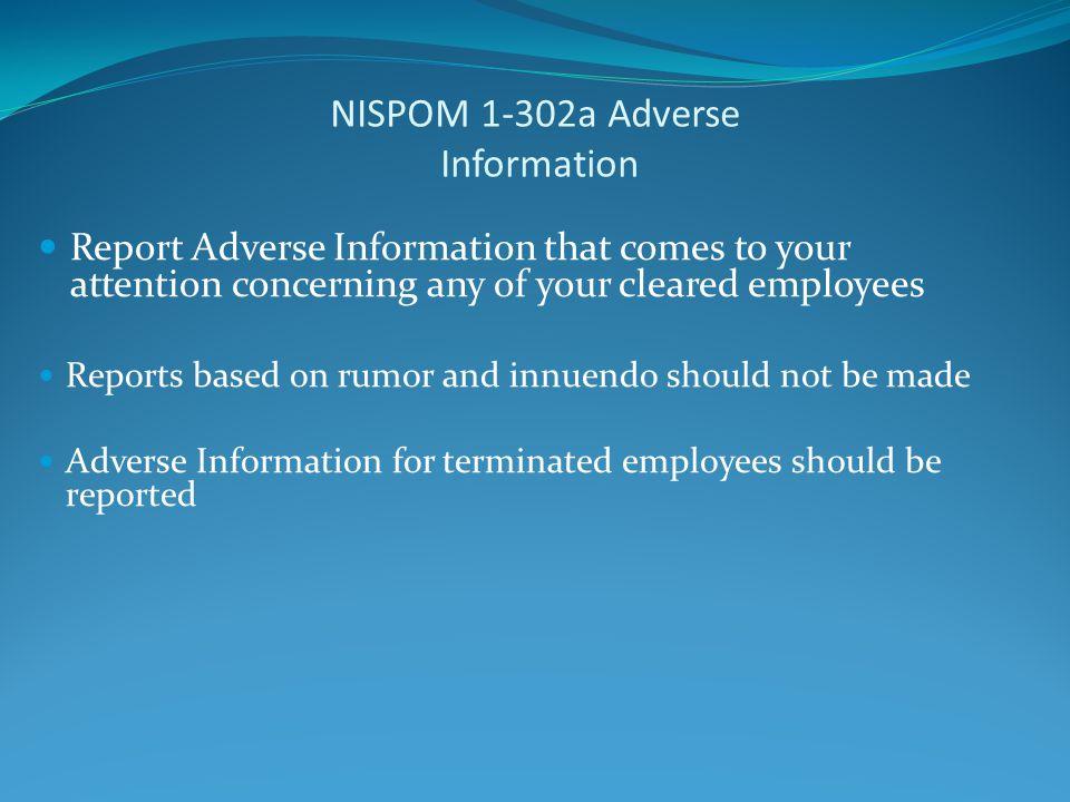 NISPOM 1-302a Adverse Information