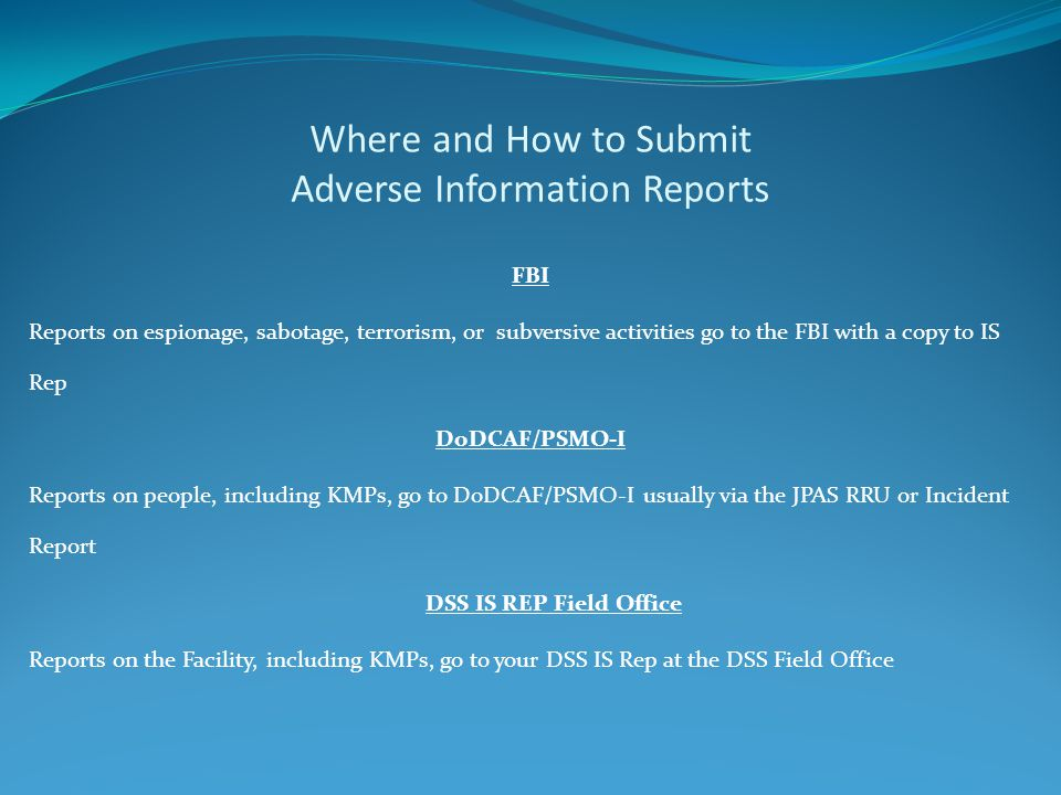 Where and How to Submit Adverse Information Reports