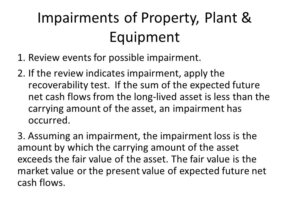 Impairments of Property, Plant & Equipment