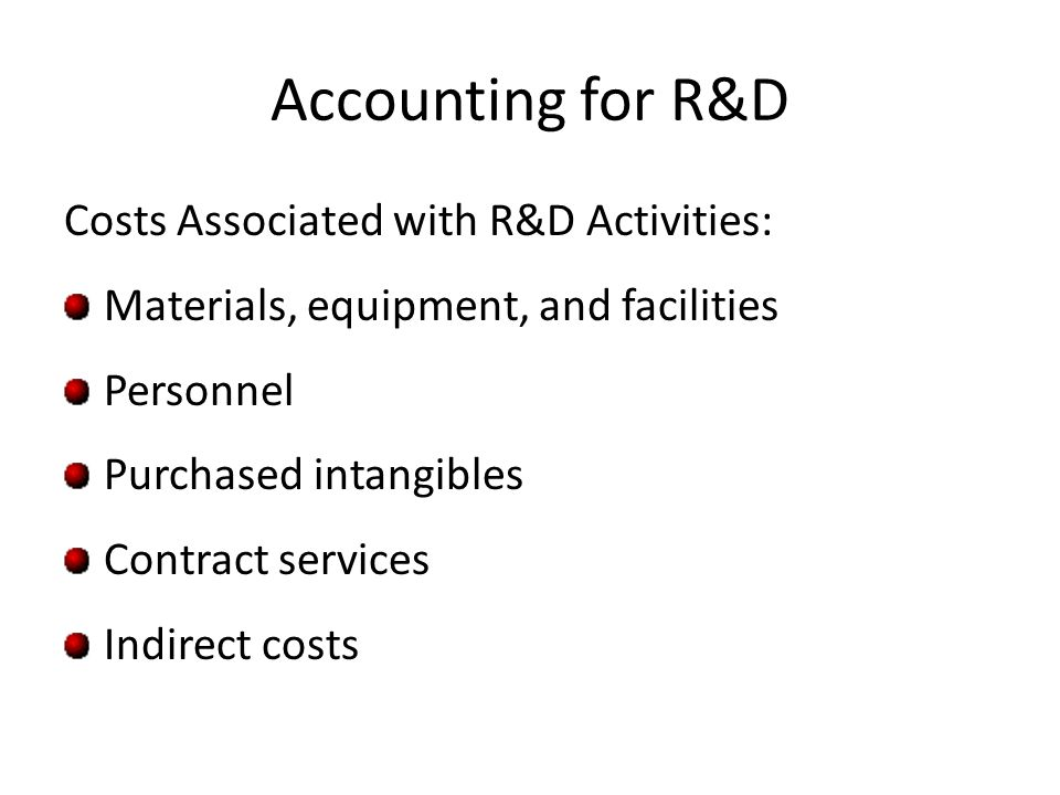 Accounting for R&D Costs Associated with R&D Activities: