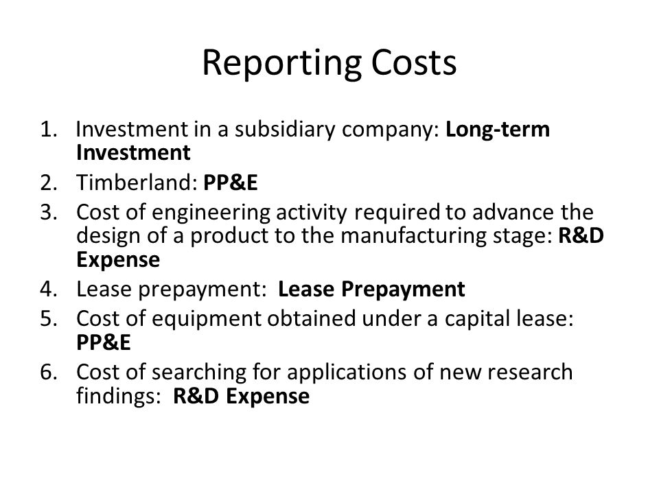 Reporting Costs