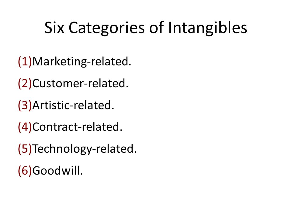 Six Categories of Intangibles