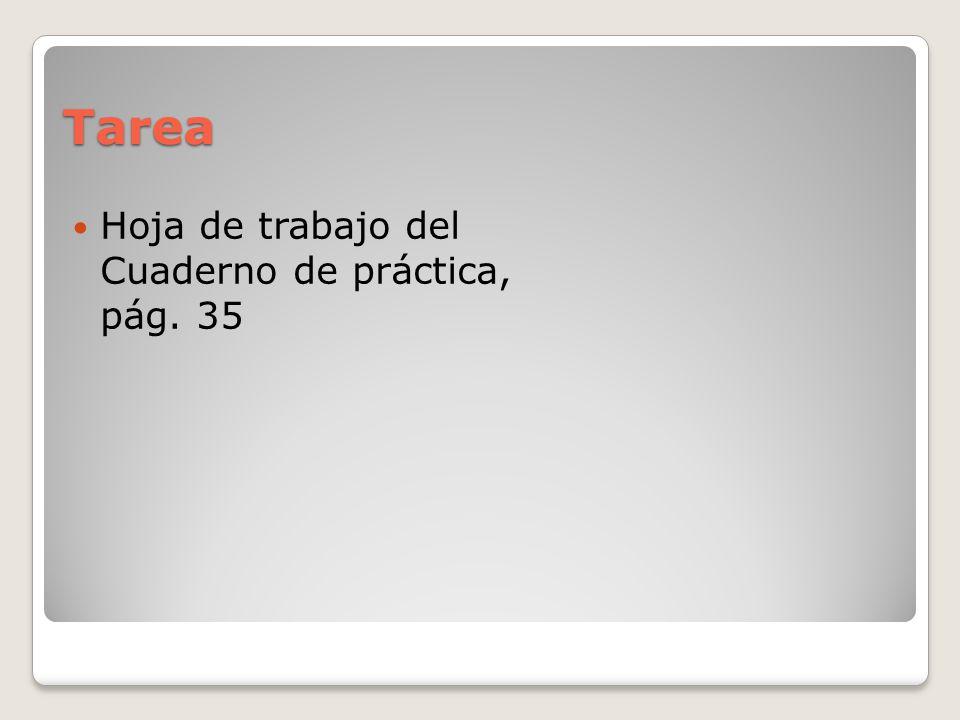 Tarea Hoja de trabajo del Cuaderno de práctica, pág. 35